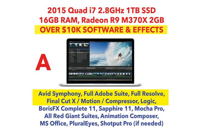 "2015 Apple MacBook Pro 15"" i7 w/ FCP X, Adobe, Avid, SSD (A)"
