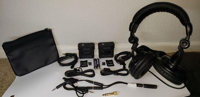 TWO (2) Tascam DR-10L Lav Mics w/ 32GB SD Headphone Battery