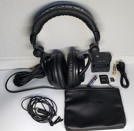 Tascam DR-10L  Lav Mic,  32GB SD, Heaphone, Battery, Charger