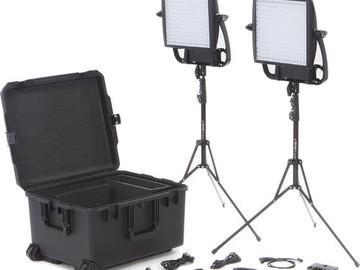 Rent: Litepanels Astra 1x1 Bi-Color LED Traveler Duo Gold MountKit