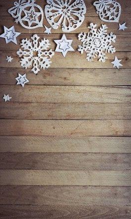 Rustic Snowflakes Photo Backdrop - PolyPaper / 5' x 6'
