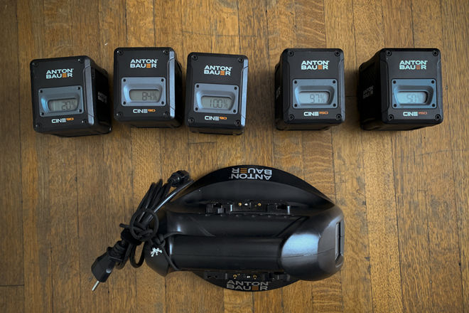 5 x Anton Bauer Cine 150 & 90 Gold-Mount, 2 bay fast charger
