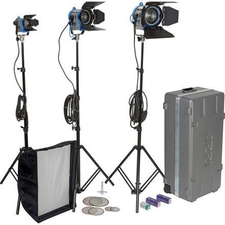 ARRI 3 Light Kit - 650W, 300W, 150W Tungsten Fresnel w/ ACCs
