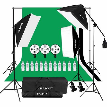 CRAPHY Photography Studio Continuous Soft Box Lighting Kit