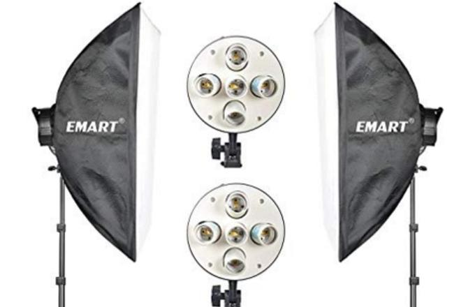 2 Emart lights w/softbox + 2 stands + 2 sandbags