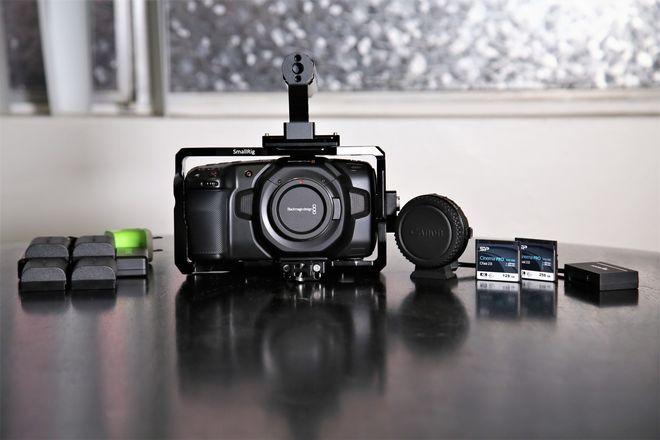 Blackmagic Pocket Cinema Camera 4K, Media, EF Adapter, Cage