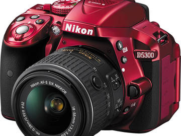 Rent: Nikon D5300 (Red Body Style)  & Lens