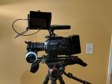 Rent: Blackmagic URSA Mini 4.6K EF, Rokinon cine,  tripod, slider