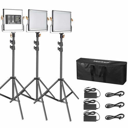Neewer 3 Packs Dimmable Bi-Color 480 LED Video Light Kit