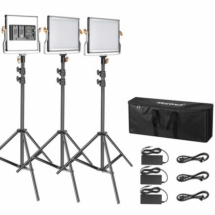 Neewer 3 Packs Dimmable Bi-Color 480 LED Video Light Kit