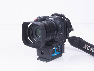 Rent: Canon XC10 with Beachtek DXA-2T XLR adapter with CFast cards