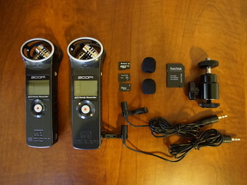 Rent: x2 Zoom H1 + Lavalier clip-on mic audio sound recorder kit