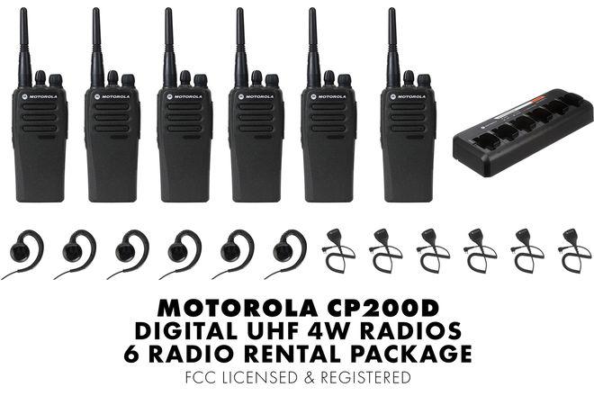 Walkie Talkie 6 Units Motorola CP200d Digital UHF