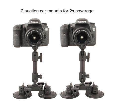 2x Delkin Fat Gecko Dual Suction Camera Mount: Car or Glass