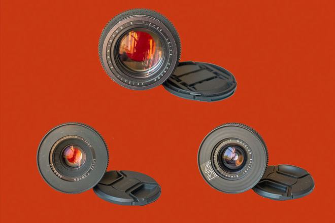 Leica R Lens Set with Leitax EF Mount (28mm, 50mm, 90mm)