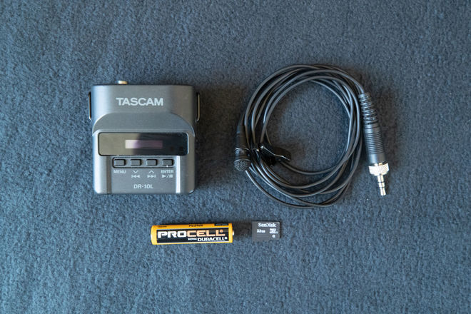 Tascam DR-10L with Lavalier Mic and 32GB Micro SD Card