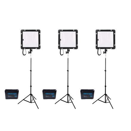 Set of THREE Dracast LED Flexible Lights/ Stands/ Batteries
