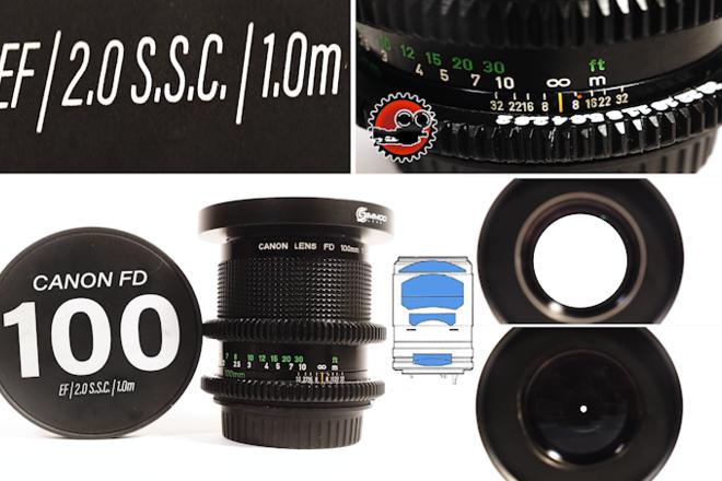 """Canon FD 100mm f/2 S.S.C. in EF - Close Focus - 3'3""""/1m"""