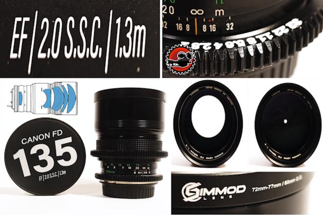 """Canon FD 135mm f/2 S.S.C. in EF - Close Focus - 4'3""""/1.3m"""
