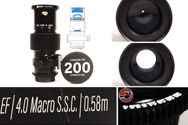 "Canon FD 200mm f/4 Macro SSC EF - Close Focus - 1'11""/0.55m"