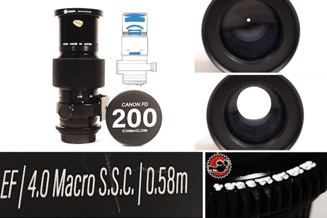 "Canon FD 200mm f/4 Macro SSC EF - Close Focus - 1'11""/0.55m"