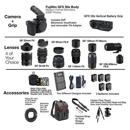 Fujifilm GFX 50s Medium Format Mirrorless - 4 Lens Package