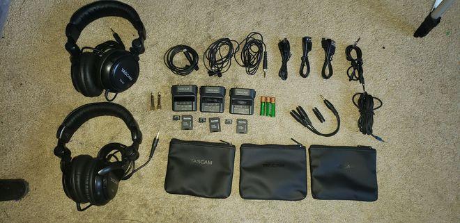 THREE(3) Tascam DR-10L Lav Mics w/ 32GB SD Headphone Battery