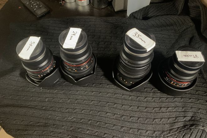 Rokinon Cine Lens set 24,35,50,85mm T1.5 Sony EF mount+bag