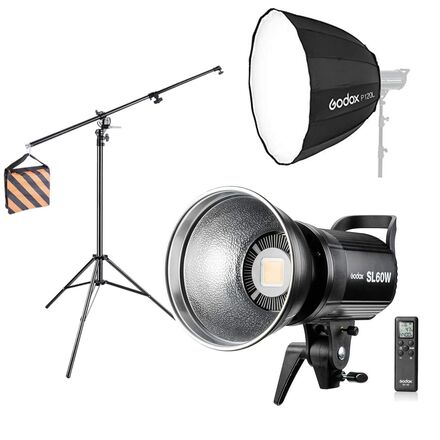 "Godox SL-60w with 48"" softbox, stand and sand bag"
