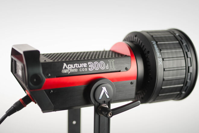 Aputure 300D II with Light Dome and Fresnel Lens