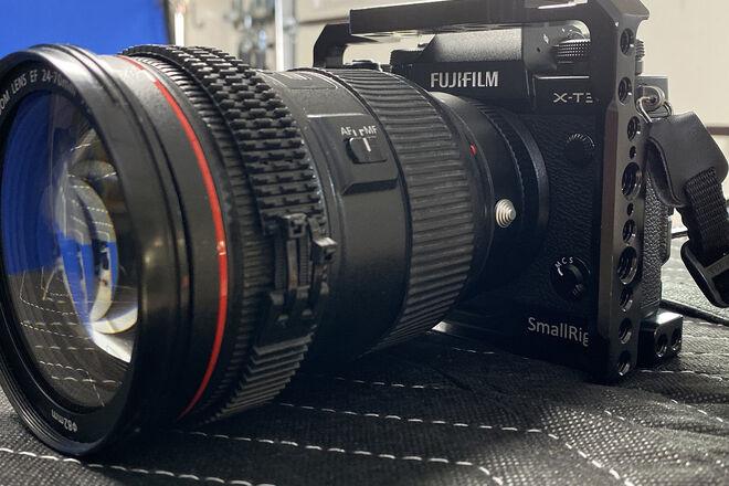 Fuji X-T3 Mirrorless Digital Camera, Cage, Fronger EF Mount