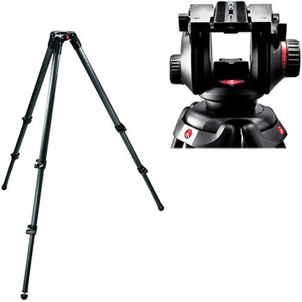 Manfrotto 504HD and 535 3-stage Carbon Fiber Tripod