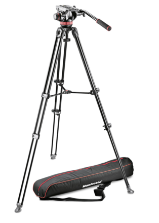 MVH502A and MVH502AM Fluid Video Head Aluminum Tripod