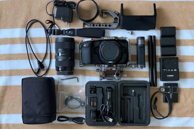 Blackmagic Pocket 4K, Full cage, SSD, Lens, Metabones, etc