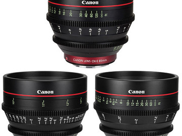 Rent: Canon EF Cinema Prime Lens Kit (24, 50 and 85mm)