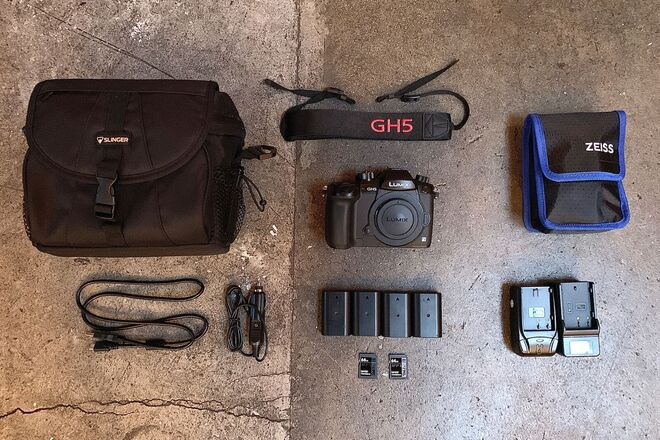GH5, 4x Batteries, 2x 64gb SD Cards, 2 Chargers, Bag