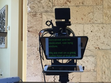 Rent: iPad Teleprompter - Bracket Mount+Glass + iPad 2 w/ software