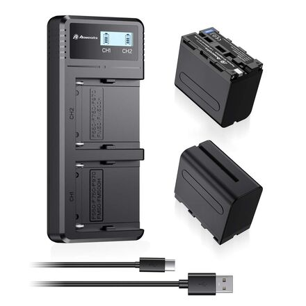Powerextra 2 Pack NP-F970 Batteries and Dual Charger