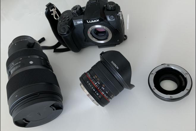 GH5  Lumix Panasonic Body, speedbooster and 4 lenses