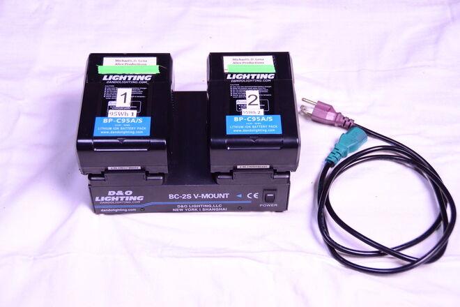 D&O Lighting V-Mount Charger with 2 D&O V-mount Batteries