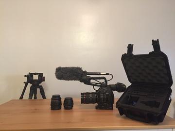 Rent: C100 Mark II Run & Gun Kit (w/ Tripod, Shotgun, Lav, Lenses)