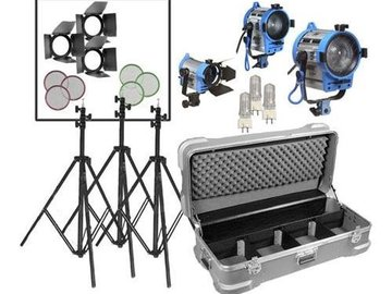 Rent: Fresnel 6 Light Kit: 3x300w, 3x650w, stands, dimmers, distro