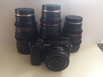 Rent: SONY a6300 with CINEMA LENSES T1.5 (24,35,85mm)