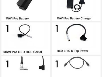Rent: MōVI Pro Batteries, Chargers & RED / ARRI / Sony cables