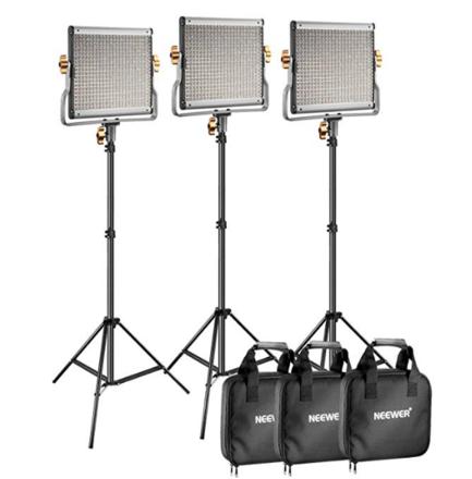 Neewer Bi-Color LED Panel (3 Light Kit) w/ Stands