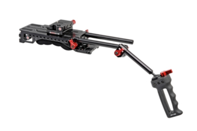 Zacuto handheld rig with AB plate, VCT shoulder mount, grips