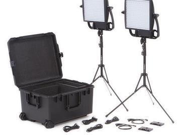 Rent: 2 - Litepanels Astra 1x1 BiColor LED Traveler Gold Mount Kit