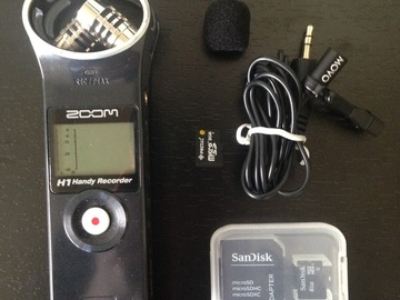 Rent: Zoom H1 + Lav clip-on mic audio sound recorder kit