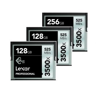 3x Lexar 3500x CFast Memory Card Package