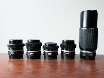 Rent: Nikon AI lens kit - EF mount / geared / 24,35,50,85,80-200